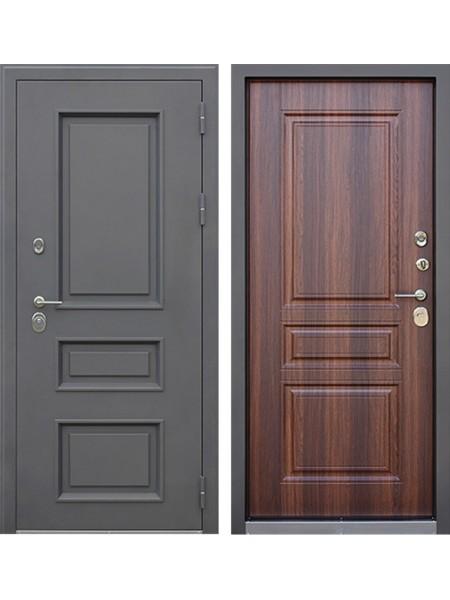 Уличная входная стальная дверь с терморазрывом АСД Аляска 3К (Муар коричневый / Коньяк)