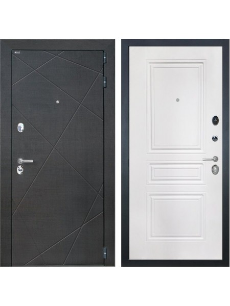 Входная металлическая дверь Интекрон Сенатор Лучи ФЛ-243-М (Венге распил кофе / Белая матовая)
