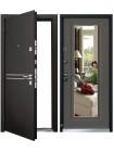 Входная металлическая дверь Mastino Cielo (Parko) с зеркалом (Черный шелк / Каштан темный)