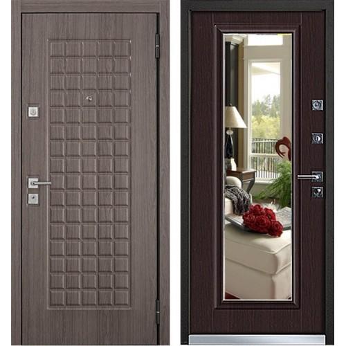 Входная металлическая дверь Mastino Mare (Marke) с зеркалом (Каштан темный / Венге Норд)