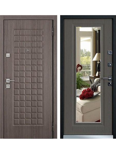 Входная металлическая дверь Mastino Mare (Marke) с зеркалом (Каштан темный / Каштан темный)
