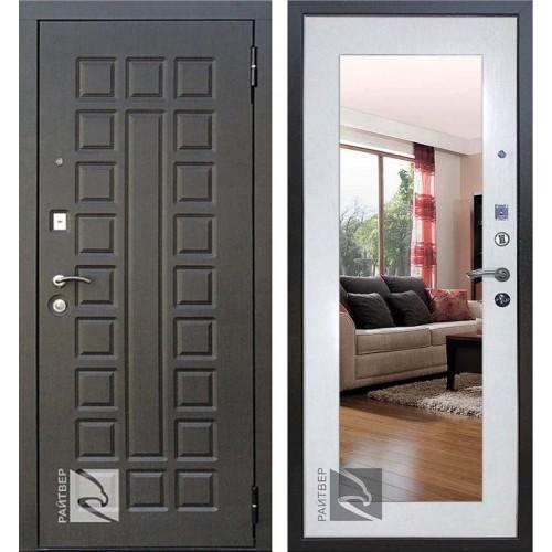 Входная металлическая дверь Райтвер Сенатор с зеркалом (Венге / Дуб беленый)