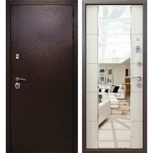 Входная металлическая дверь Кондор Президент с зеркалом (Медный антик / Меланж светлый)