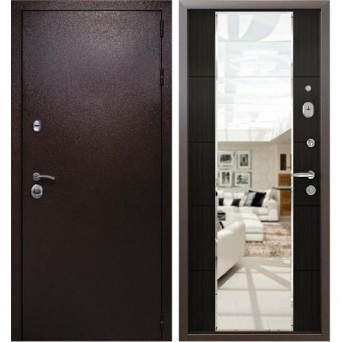 Входная металлическая дверь Кондор Президент с зеркалом (Медный антик / Меланж темный)