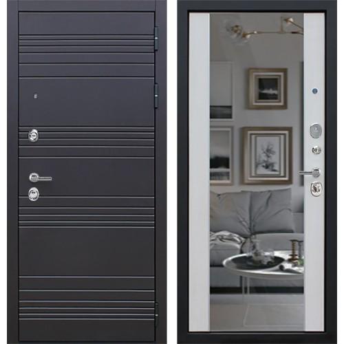 Входная металлическая дверь АСД Дуэт с Зеркалом СБ-16 (Белая лиственница)