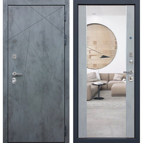 Входная металлическая дверь АСД Дуэт Б с Зеркалом СБ-16 (Бетон темный / Бетон светлый)