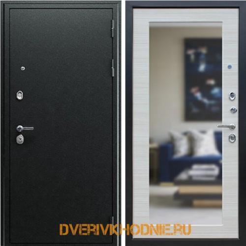 Металлическая входная дверь «Next 1» с зеркалом Акация светлая поперечная