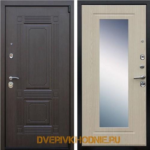 Металлическая входная дверь «Викинг (с зеркалом)» Беленый дуб