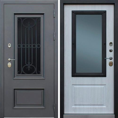 Уличная входная стальная дверь с терморазрывом АСД «Аляска с окном и лазерной резкой» с терморазрывом