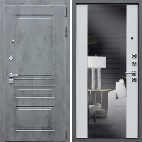 Металлическая входная дверь «Лира с зеркалом» Белый матовый