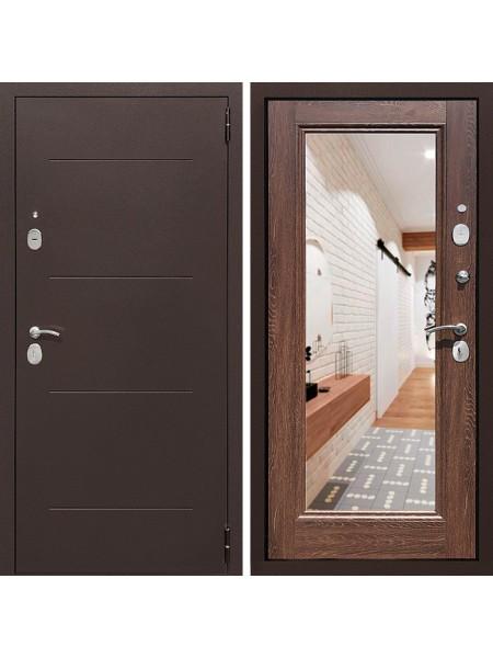 Металлическая входная дверь Престиж 100 с зеркалом Дуб коньячный