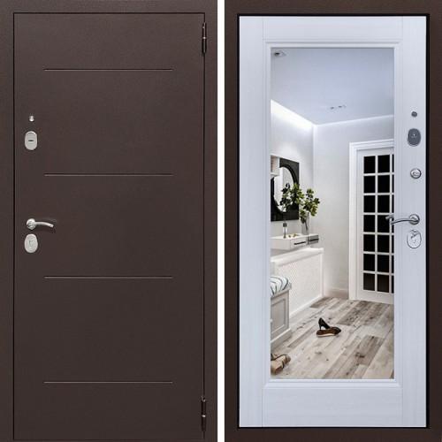 Металлическая входная дверь Престиж 100 с зеркалом Лиственница