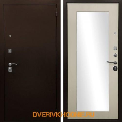 Металлическая входная дверь Ратибор Оптима 3К Зеркало Лиственница беж