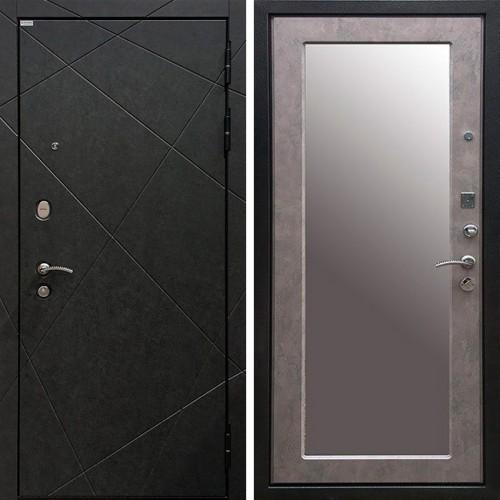 Металлическая входная дверь Ратибор Эстет 3К с зеркалом Бетон светлый