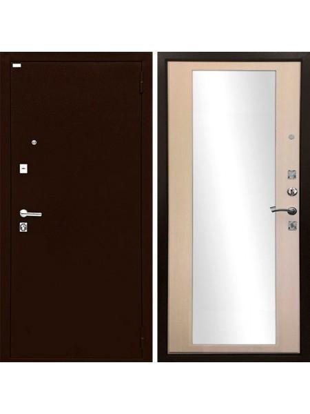 Металлическая входная дверь Ратибор Люкс с зеркалом Экодуб