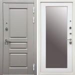 Металлическая входная дверь Ратибор Лондон 3К  с зеркалом Грей софт/Белый софт