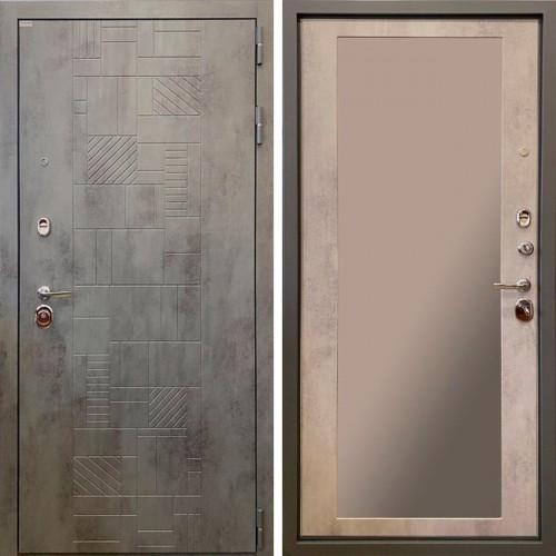 Металлическая входная дверь Ратибор Тетрис с зеркалом  3К Бетон темный/Бетон светлый