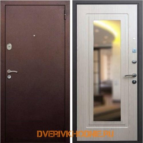 Металлическая входная дверь Рекс 1А Зеркало Беленый дуб