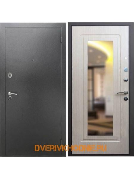 Металлическая входная дверь Рекс 2А Зеркало Беленый дуб