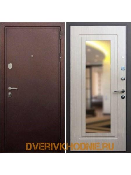 Металлическая входная дверь Рекс 5А Зеркало Беленый дуб