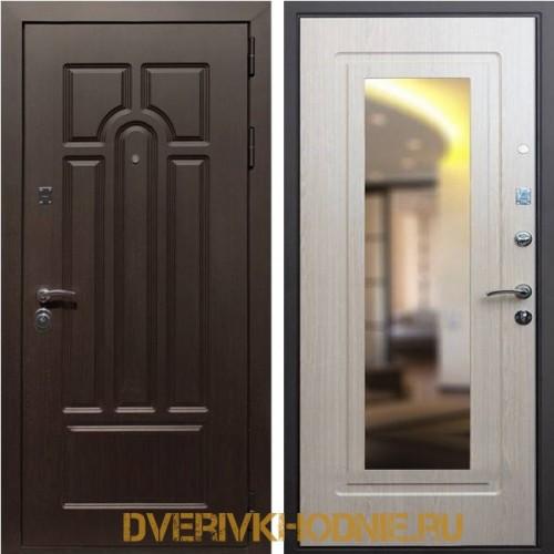 Металлическая входная дверь Рекс Эврика Зеркало Беленый Дуб