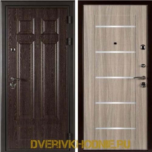 Металлическая входная дверь Shelter ЛОНДОН (L-5) Дуб филадельфия шоколад
