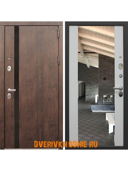 Металлическая входная дверь Снедо Премьер Тиковое дерево/Белый венге зеркало